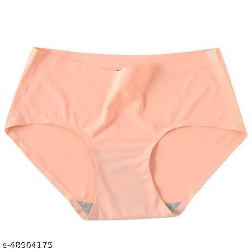 Women Seamless Lemon Yellow Cotton Blend Panty