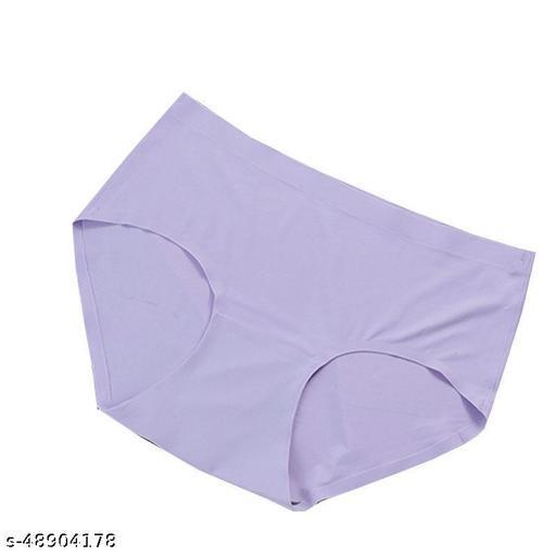 Women Seamless Purple Cotton Blend Panty