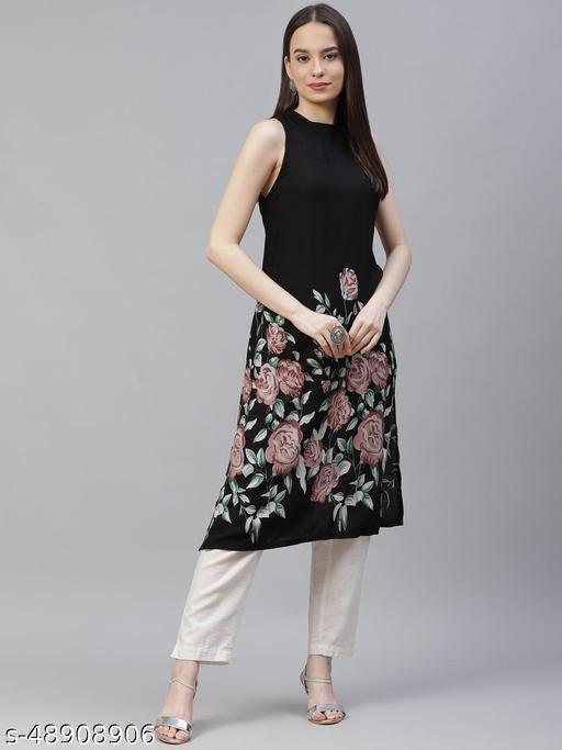 Black straight floral Printed Kurta