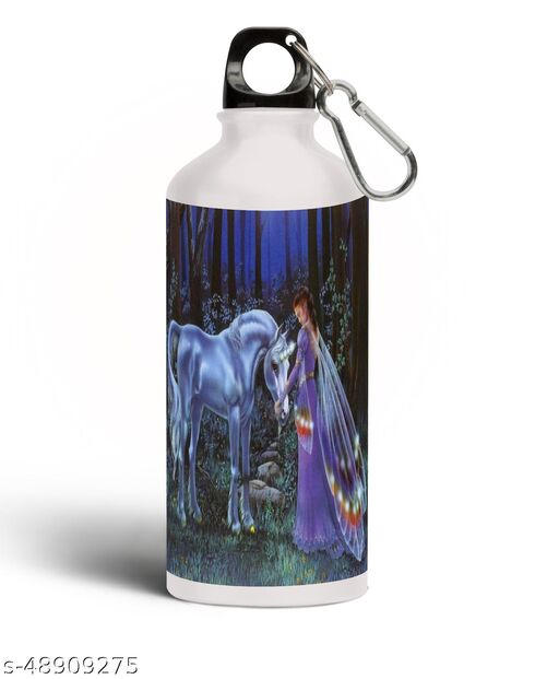 UNICORN Printed Aluminium 600ml White Sipper Bottle/Water Bottle for Kids share Smile- Best Birthday Gift for Boys, Girls, Kids, Return Gift - UNIC-48