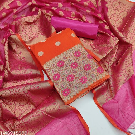 Women'S Orange Semi Stiched Woven Banarshi Jackard  Dress Material