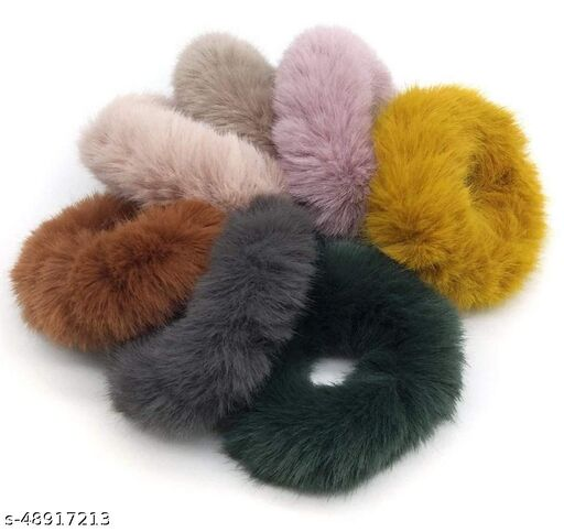 Utkarsh (Pack Of 6 Pcs) Multicolor Solid Plush Rope Fluffy Warm Soft Faux Fur Bobbles Hoop Fuzzy Flexible Elastic Pom Pom Ponytail Holder Ball Hair Band/Head Band/Scrunchies Rubber Band