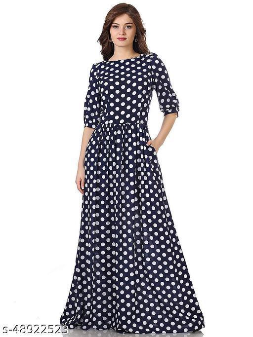 Women's Polka Dot Fancy Maxi Length Fancy Western gown