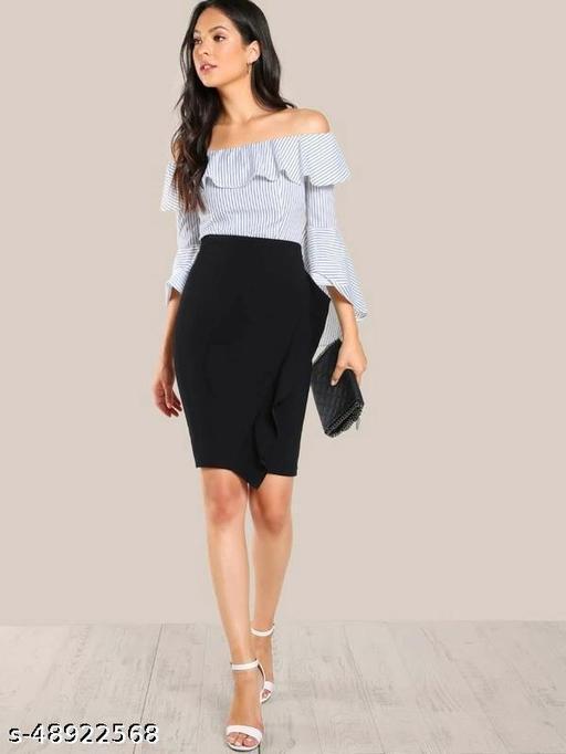 Frill Trim Form Fitting Skirt