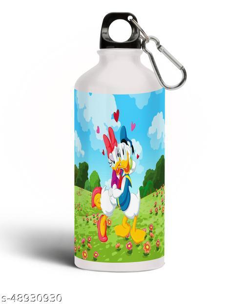 PARTY GLITERS Donald Duck with Floral Aluminium 600ml White Sipper Bottle/Water Bottle for Kids - Best Birthday Gift for Boys, Girls, Kids, Return Gift - DONA-61