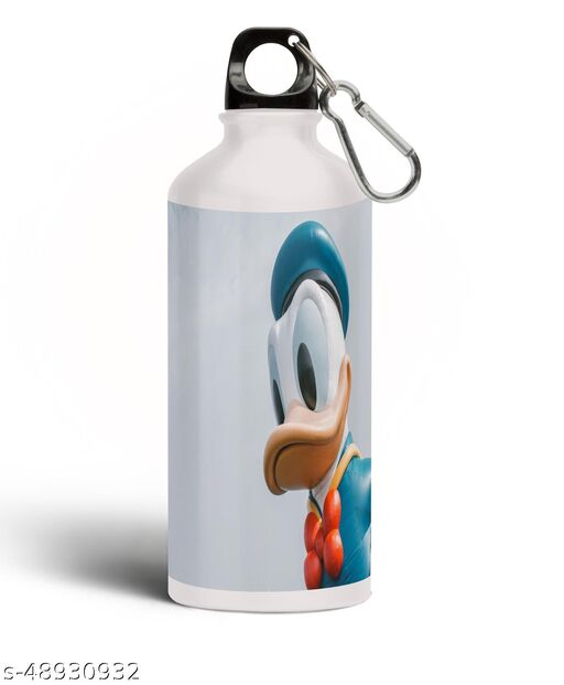 PARTY GLITERS Donald Duck with Floral Aluminium 600ml White Sipper Bottle/Water Bottle for Kids - Best Birthday Gift for Boys, Girls, Kids, Return Gift - DONA-18