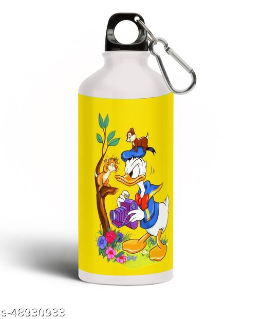 PARTY GLITERS Donald Duck with Floral Aluminium 600ml White Sipper Bottle/Water Bottle for Kids - Best Birthday Gift for Boys, Girls, Kids, Return Gift - DONA-63