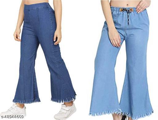 Stylish Modern Women Palazzos Denim Jeans Pant