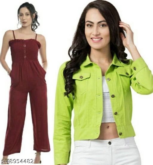 Stylish Beautiful Maroon Jumpsuit With Parrot Green Jacket