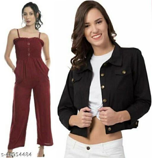Stylish Beautiful Maroon Jumpsuit With Black Jacket