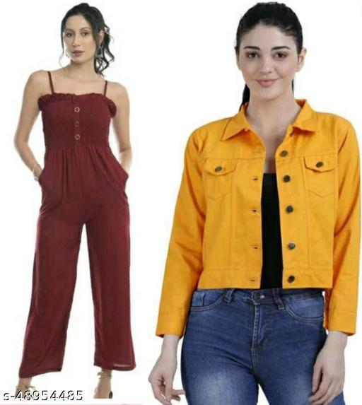 Stylish Beautiful Maroon Jumpsuit With Yellow Jacket