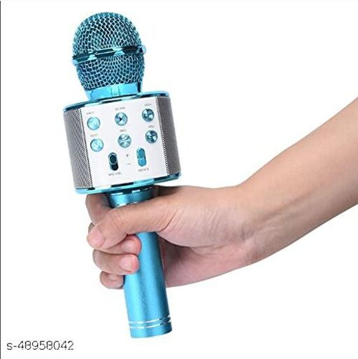 less Karaoke Mic Rechargeable Microphone Bluetooth Singing Microphone With Audio Recording and Bluetooth Speaker (Blue)