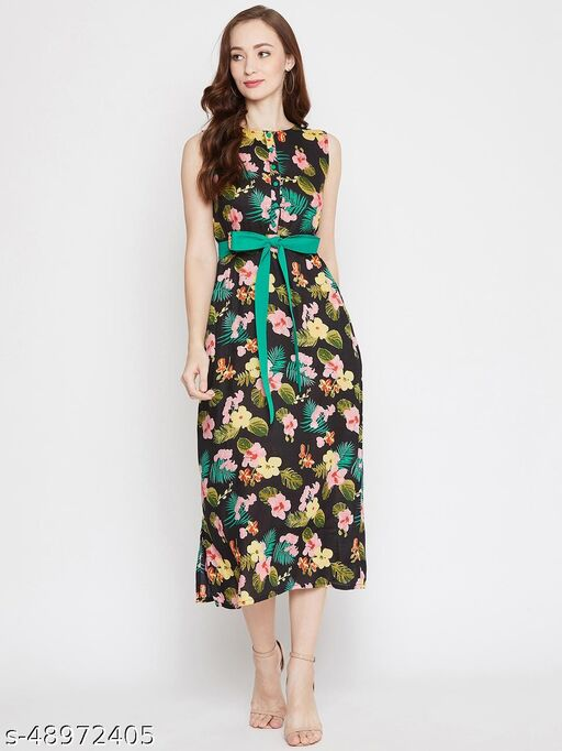 Women's Western Striped Sleeveless A-line Dress