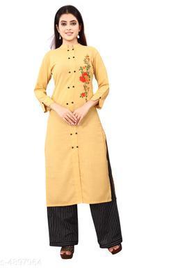 Women Cotton A-line Printed Mustard Kurti