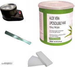 Shopfleet Aloe Vera Liposoluble Wax(800 Gm.) with 1 Wax Heater, 50 Wax Strips and 1 Spatula (Multicolor) Wax (4, Set of 4)