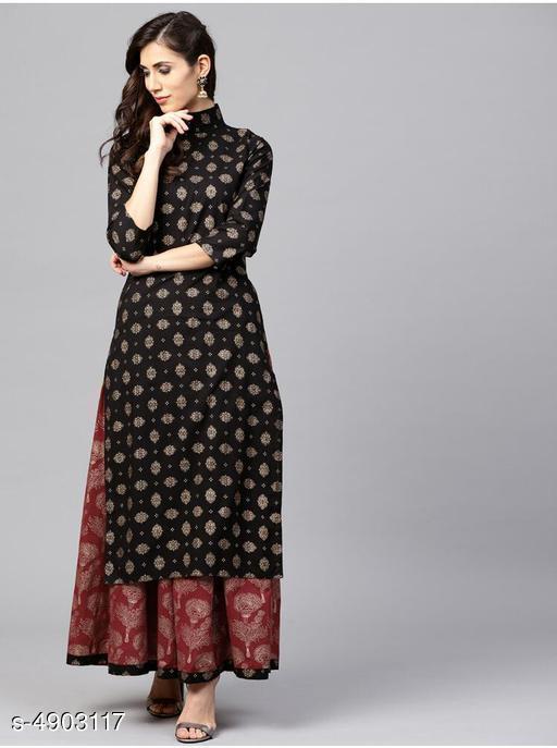 Women's Ethnic Motif Printed Black Rayon Kurta Set with Skirt
