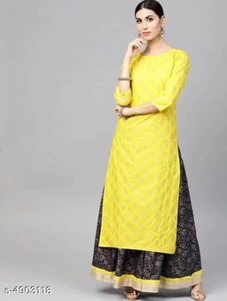 Women's Ethnic Motif Printed Yellow Rayon Kurta Set with Skirt