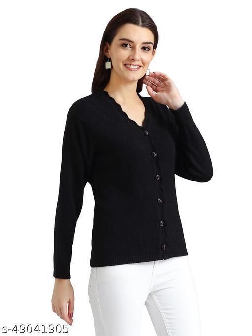 Indlon Self Design V Neck Casual Women Black Sweater