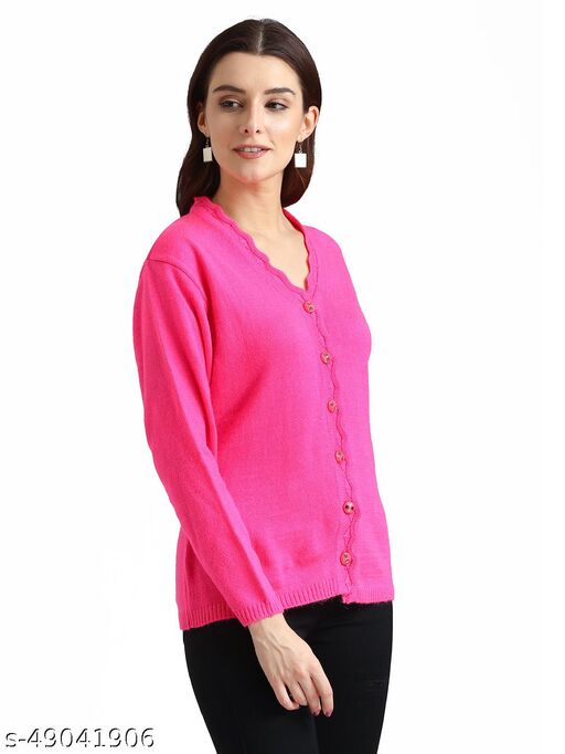 Indlon Self Design V Neck Casual Women Pink Sweater