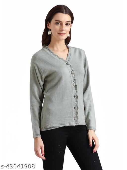 Indlon Self Design V Neck Casual Women Grey Sweater