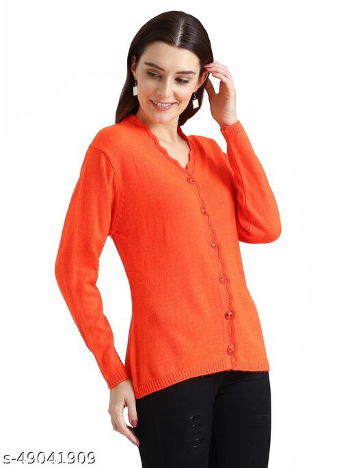 Indlon Self Design V Neck Casual Women Orange Sweater