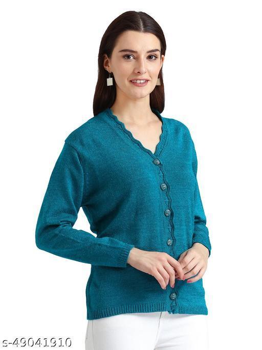Indlon Self Design V Neck Casual Women Blue Sweater