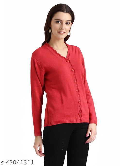 Indlon Self Design V Neck Casual Women Red Sweater