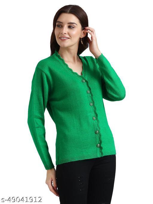 Indlon Self Design V Neck Casual Women Green Sweater