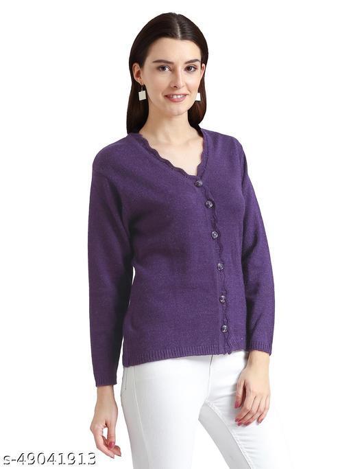 Indlon Self Design V Neck Casual Women Purple Sweater