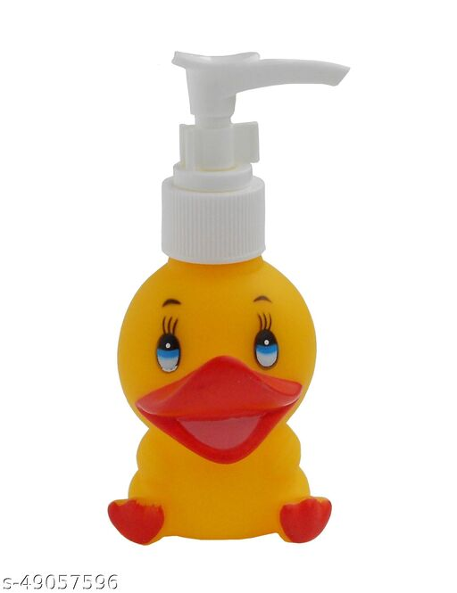 NOHUNT Liquid Soap Dispenser Light Weight (BPA) Free Plastic Shaped Yellow Duck for Kids - 200 ml - Multicolor