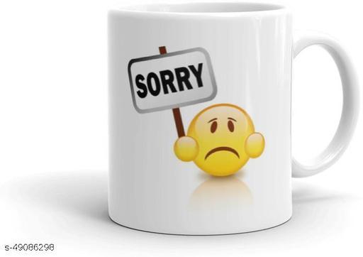 The NK Store Sorry Cute Teddy Printed Coffee Mug-Gift for Boyfriend, Girlfriend, Wife -White Ceramic Milk Mug -457