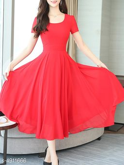 Solid Multicolor Knee length Georgette Dress