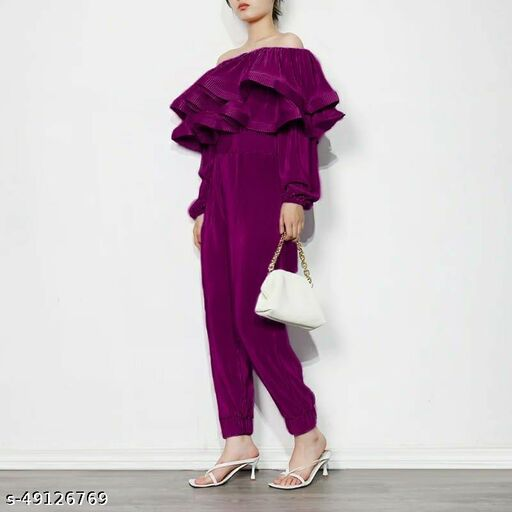 """Dora pleated layered jumpsuit by High-Buy- fully strechable upto L size (Bust-strechable upto 36(L),Waist -strechable Upto 34"""", Hip Size- strechable upto 56""""- Purple"""