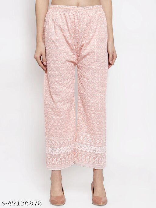 Women's Cotton Chikankari Palazzo with Embroidery (Peach) Pack of 1