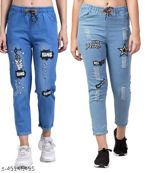 Denim Jeans/Jogger Elastic Waist Drawstring Stretch Side Pockets Bang Light and Star Light Casual Jeans  Pack Of 2