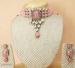 Women's stone and pearl work Jewellery Set