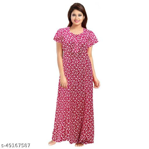 Women 100% Cotton Printed Night Gown Maxi Nighty