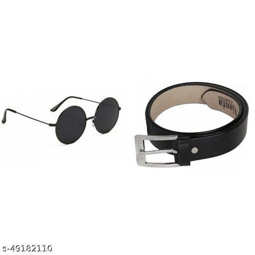 pack of 2 black sunglass & belt for men