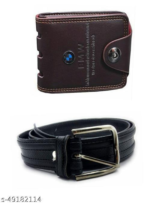 brown bi fold bmw wallet & belt for men  pack of 2
