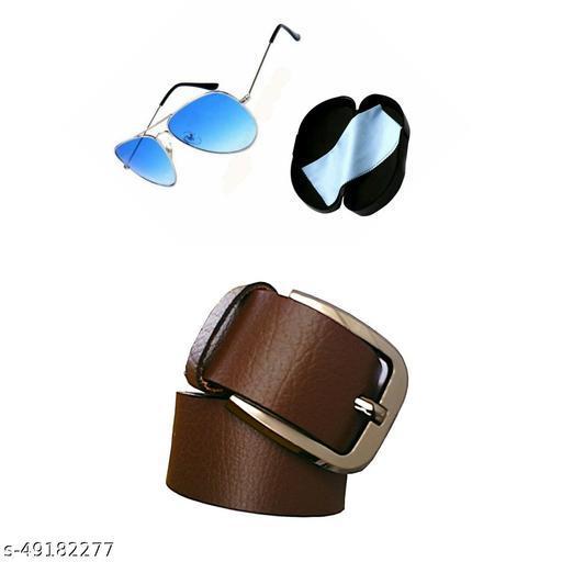 blue sunglass & belt for men pack of 2