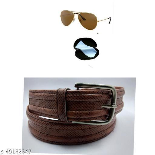 brown sunglass & belt for men pack of 2