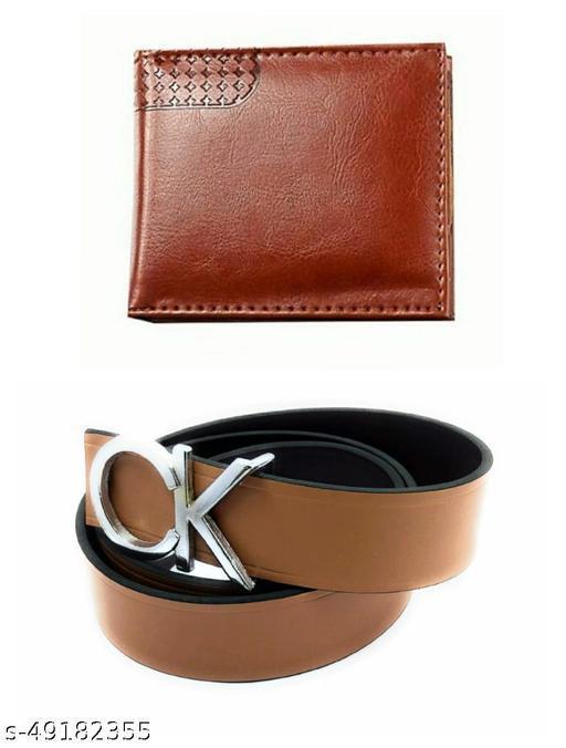 single fold brown wallet & belt for men pack of 2