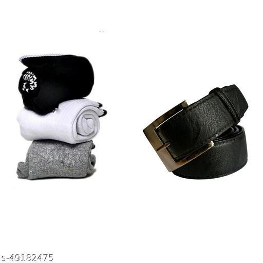 pack of 4 belt & 3 pairs socks for men