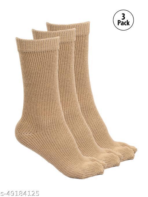 SEVEN DEGREE Women Calf Length Woollen Thumb Socks (Pack of 3)