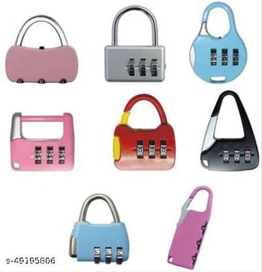 Cipher Shops  Set of 3 Mini safety number lock for luggage, Bag, Travelling purpose Lock  (Multicolor) (Multi design)