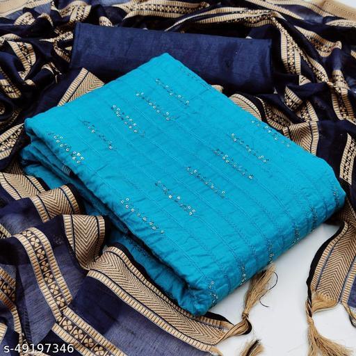 Women's Fancy Chanderi Salwar Suit Dress Material with Banarasi Jaquard Dupatta