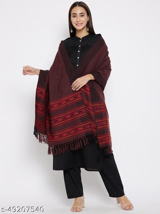 Vero Amore Women's Coffee Kullu Design Jacquard Shawl has a fringed border (Size 40x80 Inches)
