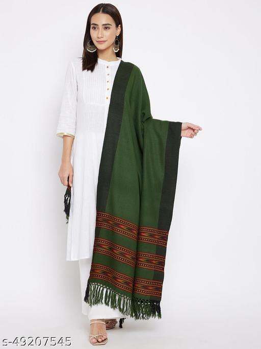 Vero Amore Women's Olive Kullu Design Jacquard Shawl has a fringed border (Size 40x80 Inches)