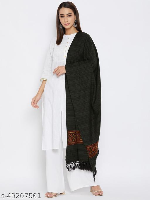Vero Amore Women's Black-Grey Kullu Design Jacquard Shawl has a fringed border (Size 40x80 Inches)