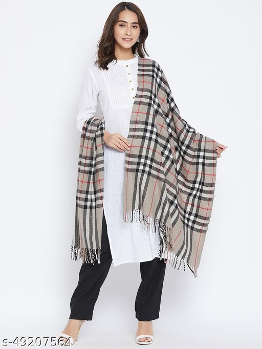 Vero Amore Women's Grey Woven Design Jacquard Stole has a fringed border (Size 28x80 Inches)